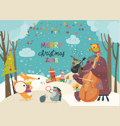 Happy animals celebrating christmas vector