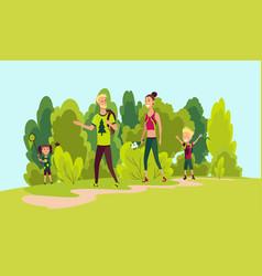 happy family hiking summer trekking outdoor vector image