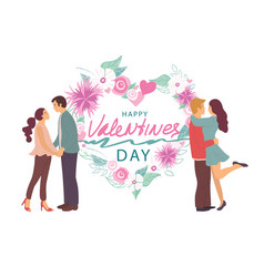 happy valentines day couples in love set poster vector image