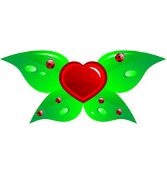 heart and leaf vector image