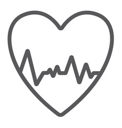 heartbeat line icon ecg and cardiology heart vector image