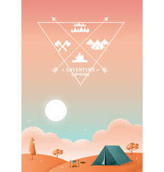 hiking and camping texture style vector image