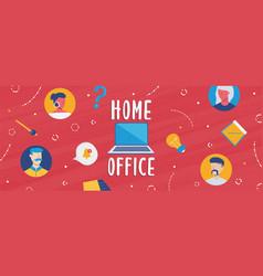 home office banner diverse online work team vector image