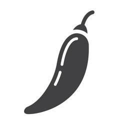 Hot chili pepper solid icon vegetable and mexican vector