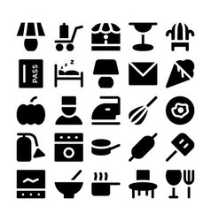Hotel and restaurant icons 15 vector
