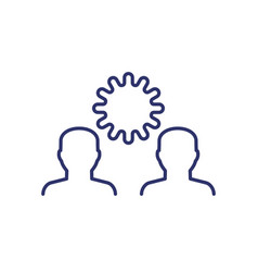 Infection line icon with virus and people vector