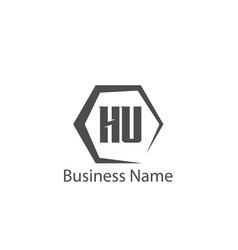 initial letter hu logo template design vector image