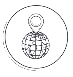 Isolated gps mark and planet design vector
