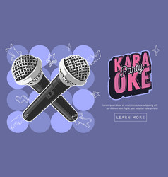 karaoke party music web design with microphones vector image