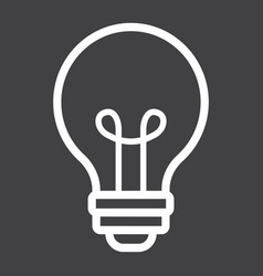 light bulb line icon lamp and idea light vector image vector image
