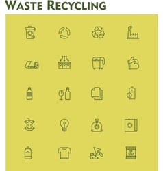 Linear waste recycling icon set vector
