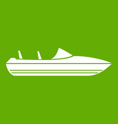 little powerboat icon green vector image