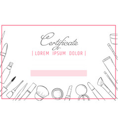 makeup certificate template beauty school or vector image