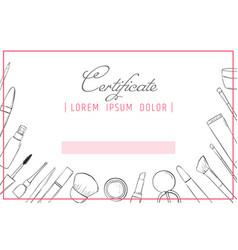 makeup certificate template beauty school or vector image