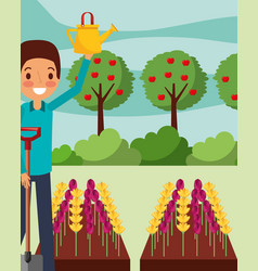 man cartoon watering flowers with shovel gardening vector image