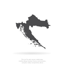 Map croatia isolated black vector