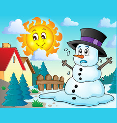 Melting snowman theme image 2 vector