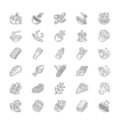 Menu dishes linear icons set salads first meal vector