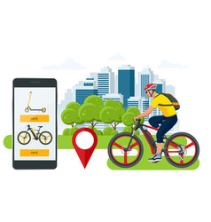mobile application on phone for renting a bike vector image