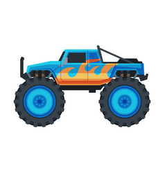 Monster truck vehicle heavy blue pickup car with vector