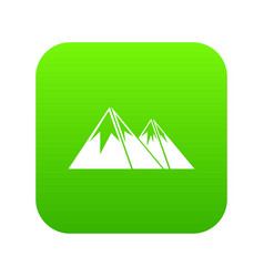 Mountains with snow icon digital green vector