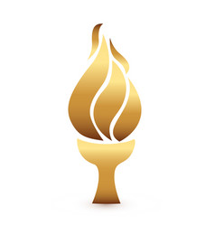 Olympic gold flame torch icon vector