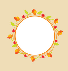 orange doodle circle flower wreath vector image