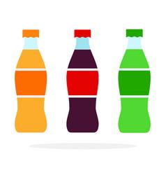 orange soda green soda and brown soda bottles vector image