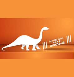 paper dino dinosaur on the orange vector image