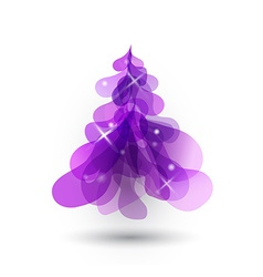 Purple Christmas tree with blurred lights on white vector