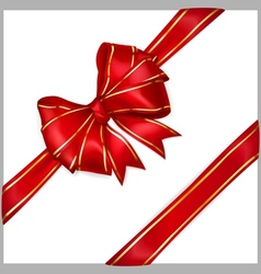Red bow with diagonally ribbons with golden strips vector