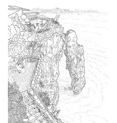 Rock in sea vector