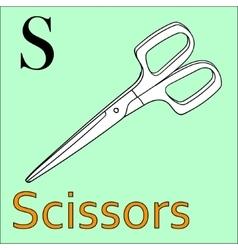 S letter alphabet Coloring book scissors vector image