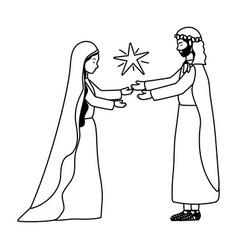 Saint joseph and mary virgin and star manger vector