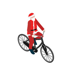 santa claus on a bike flat 3d isometric vector image