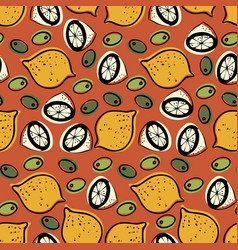 seamless pattern with the image of olives and vector image