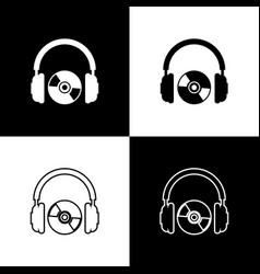 set headphones and cd or dvd icons isolated on vector image