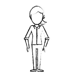 sketch female girl faceless image vector image vector image