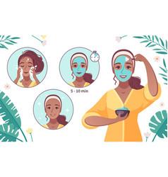 Skincare mask application cartoon vector