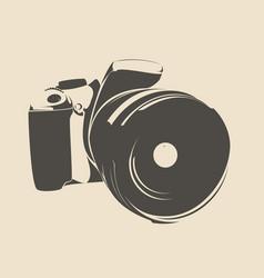 Slr camera logo black on a white background vector