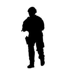soldier in uniform is walking silhouette vector image