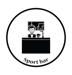 Sport bar stand with barman behind it and football vector image