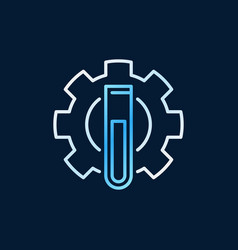 Test-tube with gear outline colored icon vector