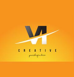 vi v i letter modern logo design with yellow vector image