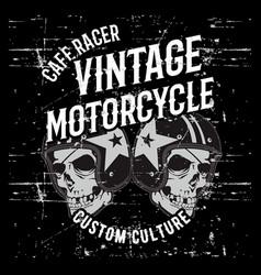 vintage grunge style skull wearing helmet hand vector image