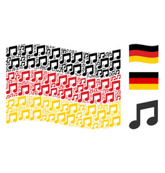 Waving german flag collage of music notes items vector