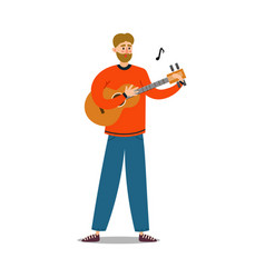 young man musician playing acoustic guitar vector image