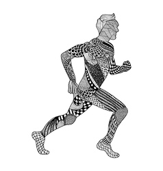 Zentangle stylized Runner Hand Drawn Man doodle vector