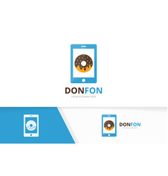 donut and phone logo combination doughnut vector image vector image