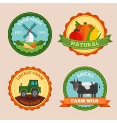 Flat Farm Emblem Set vector image